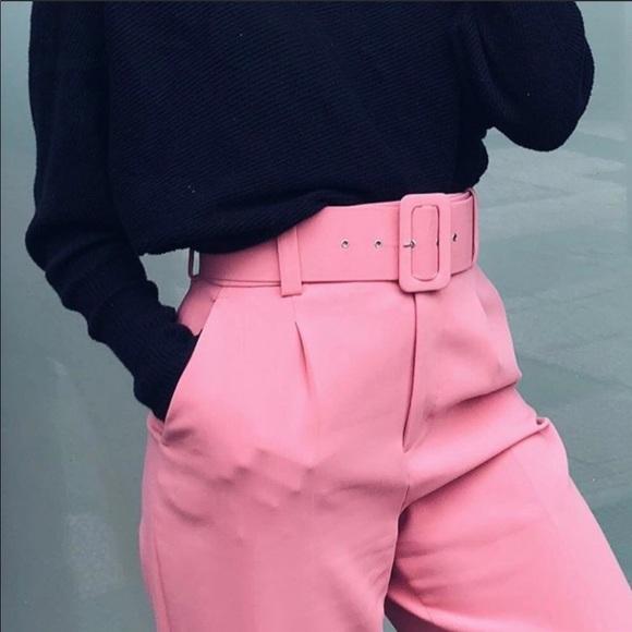 2380a930 Zara Pants | Pink Belted Trouser Xs | Poshmark